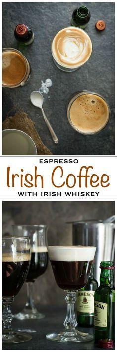 A traditional Irish Coffee made with pure espresso, brown sugar, Irish whiskey and cream | Foodness Gracious