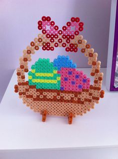 Panier de pâques en perles à repasser - Easter basket hama perler beads by shakotte Effektive Bilder, die wir über diy crafts anbieten Ei - Perler Beads, Perler Bead Art, Fuse Beads, Pearler Bead Patterns, Perler Patterns, Beaded Banners, Hama Beads Design, Iron Beads, Melting Beads