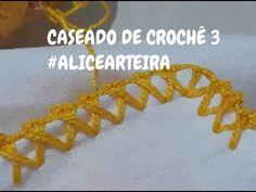 CASEADO DE CROCHÊ 3 #ALICEARTEIRA - YouTube Crochet Cocoon, Crochet Lace, Crochet Stitches, Embroidery Stitches, Free Crochet, Crochet Border Patterns, Embroidery Flowers Pattern, Hand Embroidery Designs, Palestinian Embroidery