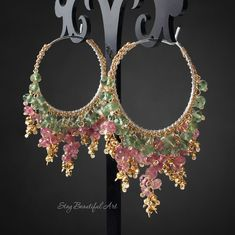 The large pair of Sterling Silver round genuine gemstone hoop earrings. The diameter of these hoops is mm wide without measuring gemstones. Shine and strength and multi shades precious gemstones are wire wrapped with gold filled wire. Indian Jewelry Earrings, Indian Jewelry Sets, Jewelry Design Earrings, Gold Earrings Designs, Ear Jewelry, Beaded Earrings, Gemstone Jewelry, Beaded Jewelry, Jewelery