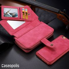 Leather Magnet Release Multi Function Zipper Wallet iPhone Case