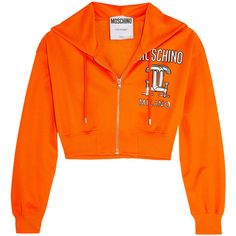 Moschino Cropped printed jersey hooded top ($195) ❤ liked on Polyvore featuring tops, hoodies, jackets, orange, shirts, cropped hoodies, hooded pullover, crop top, cropped hoodie and zippered hooded sweatshirt