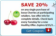 Head on over to Savingstar to getahealthy offer! This is a Clip-less e-Coupon. It is FREE to setup your account to get in on the Savings! Cha-Ching :) Go Here to learn more on Savingstar (How It Works)      Save 20% on any single purchase of loose Cherries at participating retailers. See offer info for complete details. Check back every Tuesday for a new Healthy Offer..Expires 8/15/2016.Save 20%.
