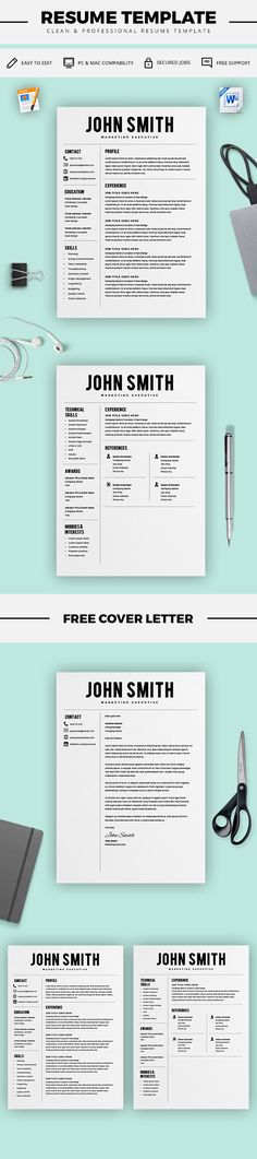 Two Page Resume Template Resume Builder Cv By Kingdomofdesigns