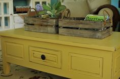 Painted Yellow Coffee Table - Family Room color