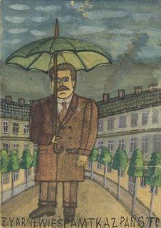 Nikifor Krynicki - Mężczyzna z parasolem