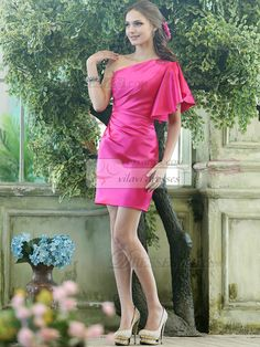 Sheath Stretch Satin One shoulder Cap Sleeve Short Fuchsia Beading Bridesmaid Dresses - US $118.59