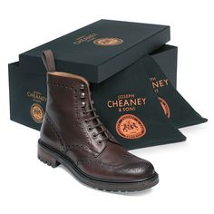 Cheaney Tweed C Wingcap Brogue Country Boots in Burgundy Calf Leather, Made in Northamptonshire, England Mens Brogue Boots, Brogues, Loafers Men, Chukka Boot, Leather Chelsea Boots, Calf Leather, Leather Shoes, Cheaney Shoes, Mens Smart Shoes