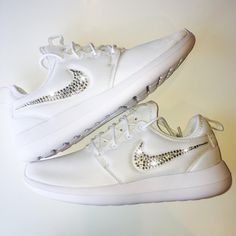 b92f6c925756a Bling Nike Roshe Two Shoes with Swarovski Crystals   White   Bedazzled  Authentic Swarovski Crystal Rhinestones