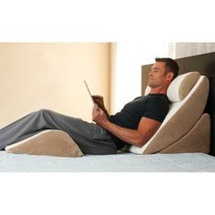 What an amazing relaxation experience awaits you. This well-designed system sets up in seconds, using ergonomic principles to put you in an optimal rest position regardless of your size or body type. Four pieces work to gently support the back and neck while your legs rest in a beneficial, knees-bent position. Curved back wedge with cervical pillow adjusts up or down as desired.