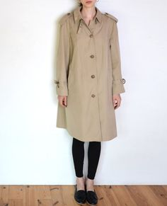 80's trench coat beige plaid lining flared by WoodhouseStudios