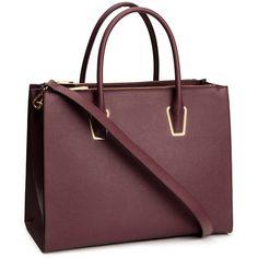 H&M Handbag (€40) ❤ liked on Polyvore featuring bags, handbags, bolsas, accessories, torbe, burgundy, long purses, zip bags, h&m handbags and brown studded handbag