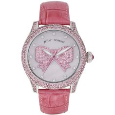Betsey Johnson Watch, Women's Breast Cancer Awareness Pink Leather... ❤ liked on Polyvore