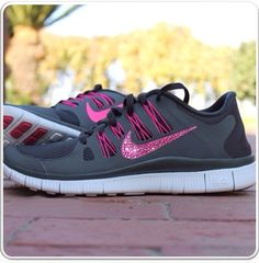 Nike Free Run 5.0 w/ Swarovski Rhinestones [GRAY/PINK] on Etsy, $159.99