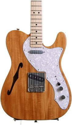 Semi-hollowbody Electric Guitar with Mahogany Body, Maple Neck, and Two Single-coil Pickups - Natural