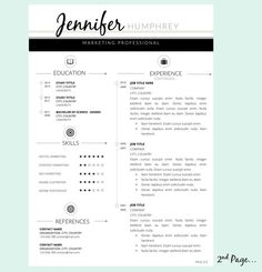 3pk Resume Template and Cover Letter for WORD by Pappermint