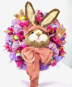 Purple and Pink With Burlap Easter Bunny Deco Mesh Door Wreath, $99.00