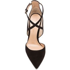 Gianvito Rossi Strappy Pointed Suede Heels (23 675 UAH) ❤ liked on Polyvore featuring shoes, pumps, heels, pointy-toe pumps, pointed heel pumps, heel pump, strap pumps and strap shoes