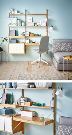 Room Hacks Make the Most of a Small Space with Ikea is part of Small Room Decor Ikea - For Small Spaces with a Smaller Budget Home Office Decor, Home Decor Bedroom, Bedroom Ideas, Svalnäs Ikea, Ikea Study, Reading Room Decor, Ikea Small Spaces, Bamboo Shelf, Small Room Decor