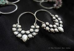 Sterling silver chand bali pearl earrings by The Trinket Box India. Find us on Facebook :)