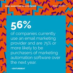 56% of companies currently use an email marketing provider and are 75% or more likely to be purchasers of marketing automation software over the next year #ifactory #ifactorydigital  #emailmarketing #digitalmarketing #digital #edm #marketing #statistics  #email #emails