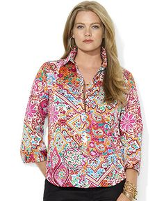 Picture shows blouse open. Upon close inspection it appears to button all the way to the top.  Lauren Ralph Lauren Plus Size Top, Three-Quarter-Sleeve Paisley-Print Shirt - Plus Size Tops - Plus Sizes - Macy's