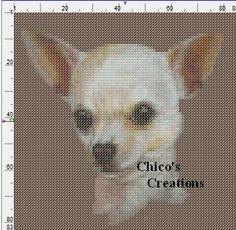Cross Stitching, Cross Stitch Embroidery, Cross Stitch Patterns, Crochet C2c Pattern, Chihuahua Dogs, Chihuahuas, Crochet Letters, Owl Patterns, Dog Portraits