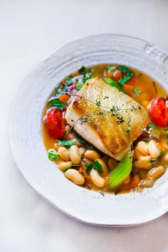 Pan Seared Sea Bass with Cannellini Bean Stew #seabass #cannellinibeans #feastingathome