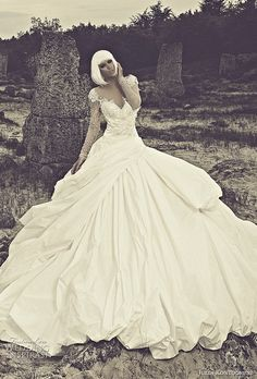 Julia Kontogruni #bridal 2015 collection: ball gown #wedding dress with illusion long sleeves. #weddinggown #weddingdress