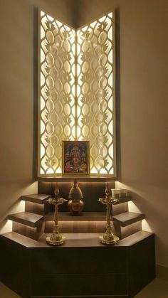 Temple Room Ideas Pooja Room Designs by The KariGhars Living Room Partition Design, Pooja Room Door Design, Room Partition Designs, Sofa Design, Home Decor Furniture, Furniture Design, Temple Room, Home Temple, Temple Design For Home
