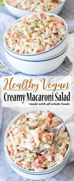 Creamy comfort food gone healthy in this vegan macaroni salad made with all whol… – Kolay yemek Tarifleri Vegan Foods, Vegan Vegetarian, Vegetarian Recipes, Healthy Recipes, Vegan Recipes Summer, Salad Recipes, Healthy Junk, Vegan Junk Food, Healthy Nutrition