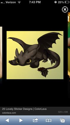 Toothless from How to Train Your Dragon. Maybe not this detailed but would make cute tattoo