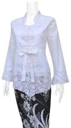 BK 497 KEBAYA KATUN BORDIR Bahan: Katun import full bordir size: S.M.L.XXL idr.@. atasan 250.000 / Rok:70 rb Pemesanan: 083191135643... Kebaya Modern Hijab, Indonesian Kebaya, Kebaya Brokat, Model Kebaya, Lace Dress, Ruffle Blouse, White Fashion, Traditional Outfits, Ikat