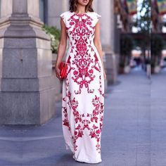 Scoop Print Sleeveless Slim Dress Long Dress