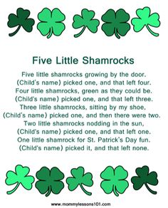 Five Little Shamrocks Poem - for early learning counting fun. You will find this poem, printable. Preschool Music, Preschool Themes, St Patricks Day Crafts For Kids, St Patricks Day Songs, Sant Patrick, St Patrick Day Activities, March Themes, March Crafts, St Paddys Day