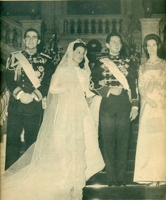 Wedding of Prince Michael of Greece. Pictured King Constantine of Greece (the groom's cousin), the bride-Marina Karella, Prince Michael of Greece (son of Prince Christopher of Greece and Princess Francoise of France), Queen Anne Marie of Greece-February 7, 1965