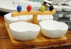 Wood/ceramic olive/appetizer set, £37.  Charlie6.