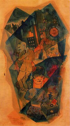 """Whisky"" (1918), by George Grosz. Aquarel on paper; Dada art movement (Co-founder of Dada in Berlin), yet a cubist like work."
