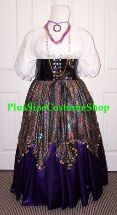 handmade plus size renaissance esmeralda gypsy halloween costume from the hunchback of notre dame multicolored sequin skirt purple satin skirt waist cincher