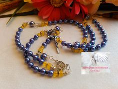 Rosary Purple and Yellow  LR#0043 by Justmyhands1Rosaries on Etsy