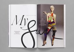 Magazine layout inspiration with huge contrasting type that spans across the spread.