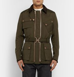 Private White V.C. - Sports Twin Track Suede-Trimmed Nylon Jacket