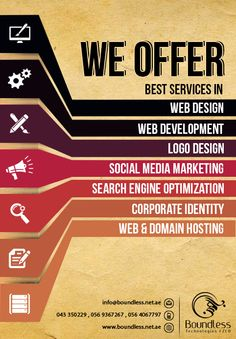 #Boundless #Technologies FZCO offers best and cutting edge services in the productive and dynamic fields of #web #design, #website #development, #logo #designing, #social #media #marketing, #search #engine #optimization, #corporate #identity and #website #hosting services.   Do contact us for more information!