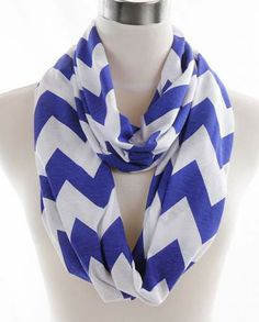 Jersey Chevron Infinity Scarf SC-25090-BL - Scarf Planet - $6.99 FREE SHIPPING Blue and White Perfect light jersey knit chevron infinity scarf! Wear for any season or any occasion. Makes a Great gift too!