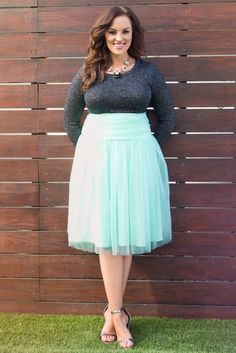 Spring is all about pretty colors and airy style.  Our plus size Twirling in Tulle Skirt is perfect for the season.  Browse our entire made in the USA collection online at www.kiyonna.com.  #KiyonnaPlusYou