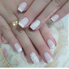 Unhas  Inspiração Nailart, Manicure Ideas, Beauty, Natural, Pretty Nails, Gorgeous Nails, Nails Inspiration, Work Nails, White Flowers