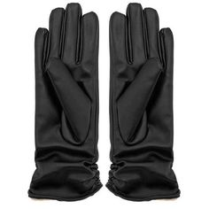 Yoins Leather Gloves with Pleated Details (26 BRL) ❤ liked on Polyvore featuring accessories, gloves, yoins, fleece lined leather gloves, leather gloves and fleece lined gloves