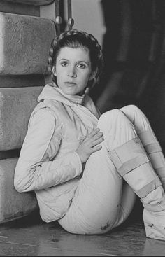 Carrie Fisher behind the scenes during the filming of Star Wars: The Empire Strikes Back