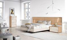 Dormitorio de diseño en chapa natural y lacado. Muebles contemporáneos, ideas decoración 2016.