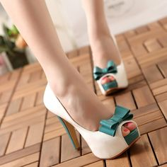 Bright Candy Color Bowknot Women's Heels Peep Toe